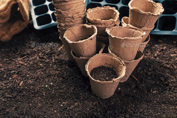 Biodegradable peat pots for organic farming food production - Stock Photo - Images