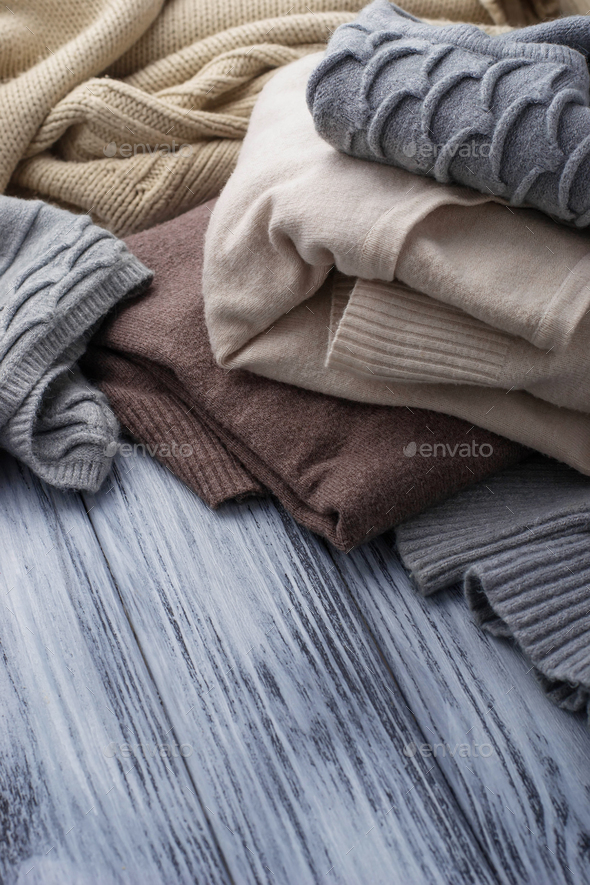 Warm knitted pastel clothes - Stock Photo - Images
