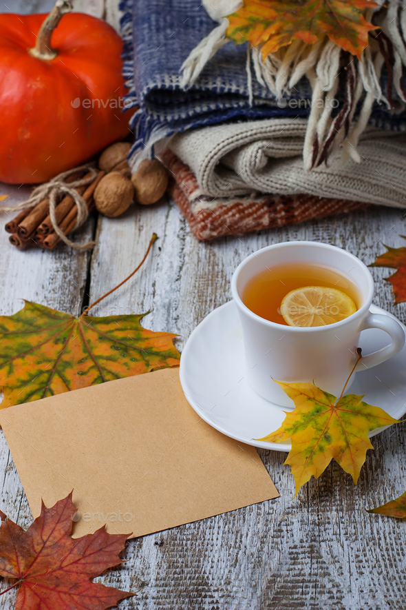 Cup of  tea and warm clothes. - Stock Photo - Images
