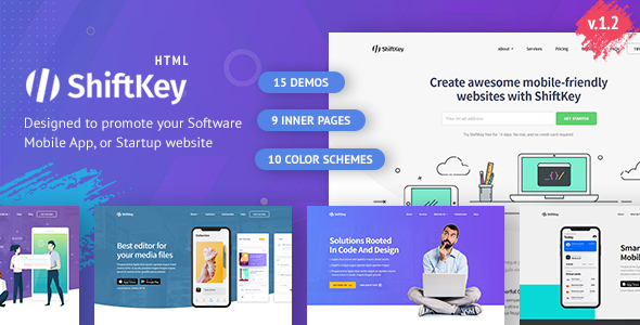 ShiftKey - Software & Startup Premium Landing Page Template by DSAThemes