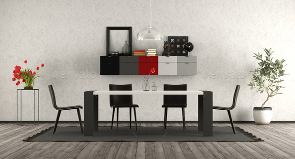 Astounding Modern Dining Room With Black And White Furniture Caraccident5 Cool Chair Designs And Ideas Caraccident5Info