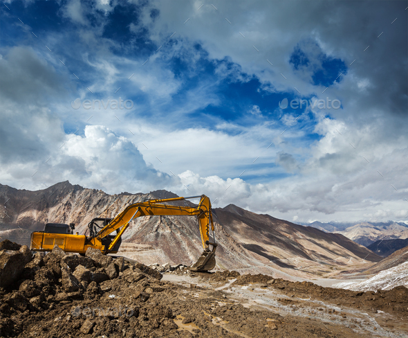 Road construction in mountains Himalayas - Stock Photo - Images