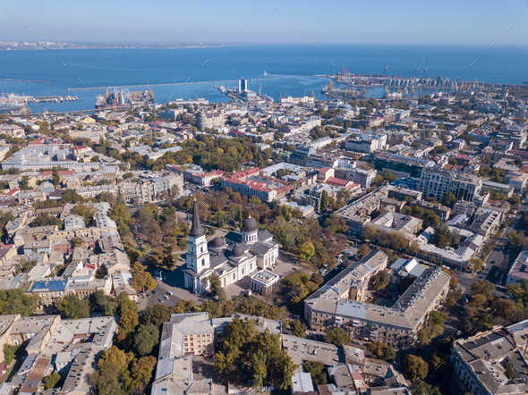 Panoramic view of the Black Sea with the port and the city from Spaso-Preobrazhensky. Cathedral - Stock Photo - Images