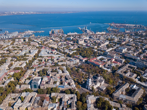 Panoramic view of the city of Odessa, from Spaso-Preobrazhensky Cathedral and sea port on a - Stock Photo - Images