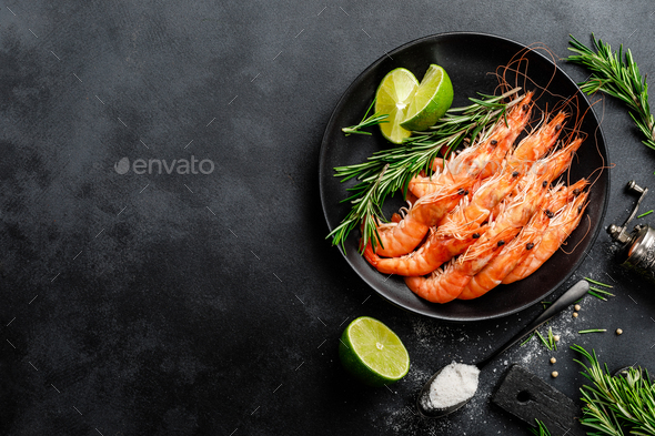Boiled prawn shrimps on a plate - Stock Photo - Images