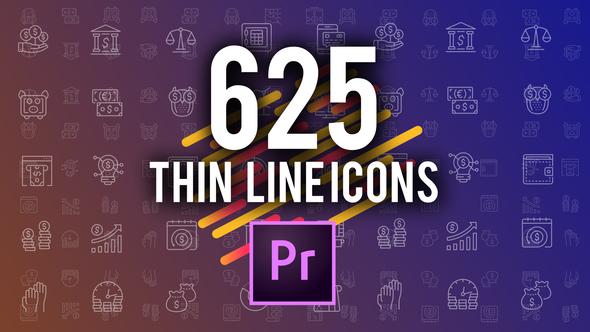 625 Thin Line Icons (MOGRT)