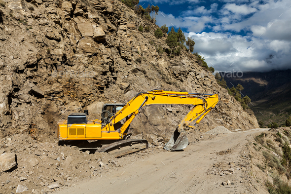 Road reconstruction in mountains Himalayas - Stock Photo - Images