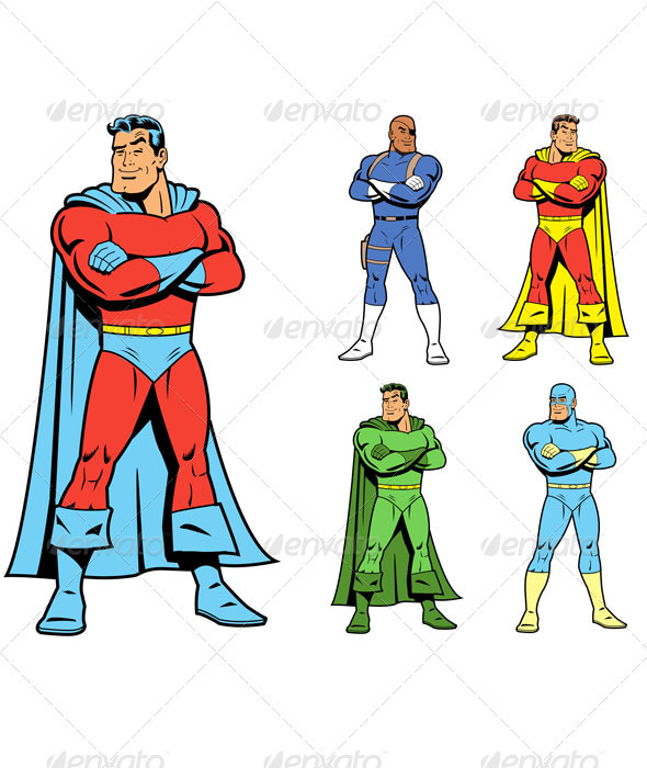 Classic Superhero and Cool Variations Image Set - People Characters