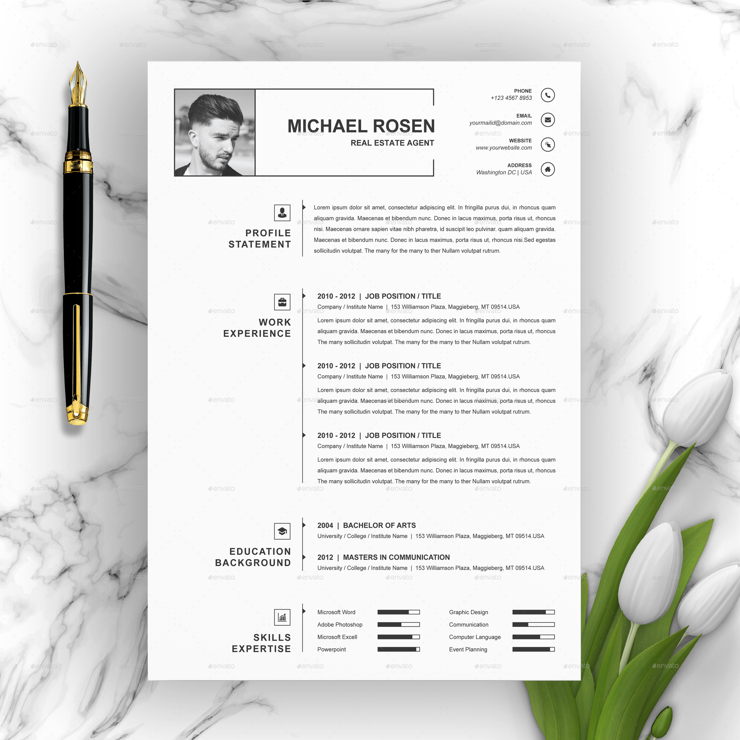 One Page Clean Resume / CV Template