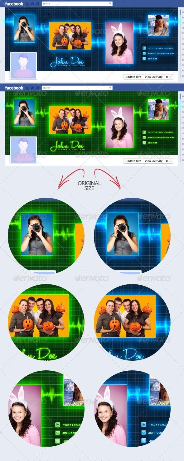 Pulse Cardiogram Sound-Wave Facebook Timeline - Social Media Web Elements