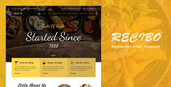 Recibo – Restaurant / Food  HTML Template Free Download