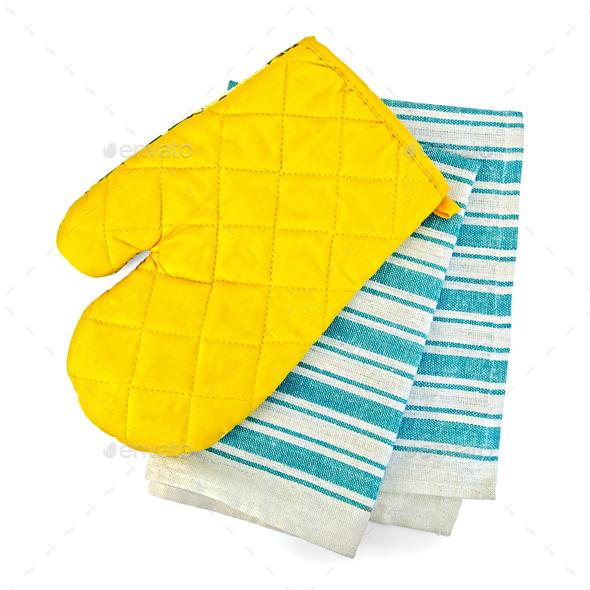 Kitchen towel and potholder - Stock Photo - Images