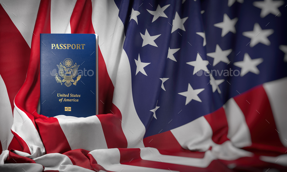 USA passport on the flag of the US United Stetes. Getting a USA - Stock Photo - Images