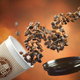 Coffee take away paper cup with coffee beans on a brown backgrou - PhotoDune Item for Sale