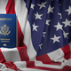 USA passport on the flag of the US United Stetes. Getting a USA - PhotoDune Item for Sale