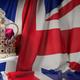 Royal golden crown with jewels on british  flag. Symbols of UK U - PhotoDune Item for Sale
