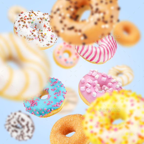 Lot of multicolored donuts - Stock Photo - Images