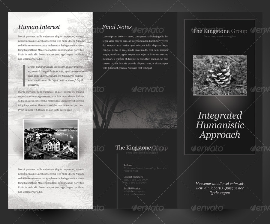 black  u0026 white theme trifold brochure template by kinzi21