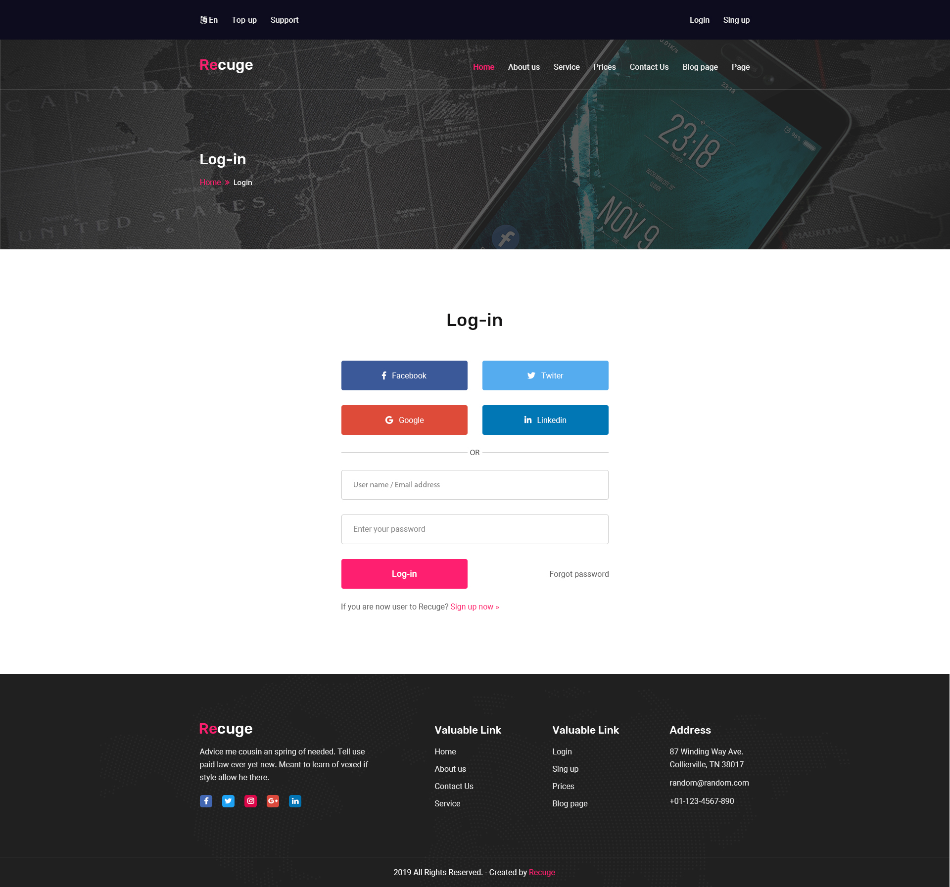 Recuge - Online Mobile Recharge HTML Template