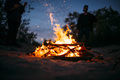 Summer Beach Bonfire with sparks flying around - PhotoDune Item for Sale