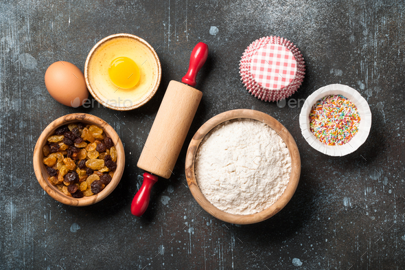 Baking background with ingredients - Stock Photo - Images
