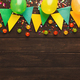 Colorful flags garland on wooden background - PhotoDune Item for Sale