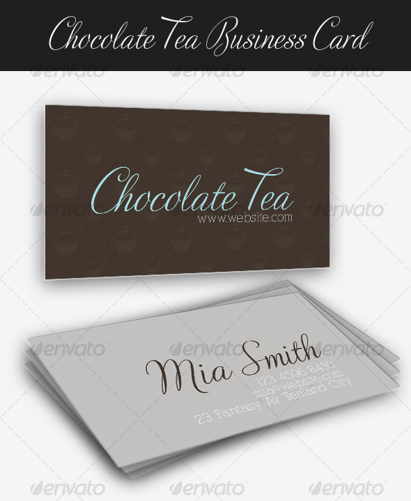 Chocolate Tea Business Card - Retro/Vintage Business Cards