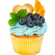 Cupcake with cookies, fresh blueberries, mint and slices of oran - PhotoDune Item for Sale
