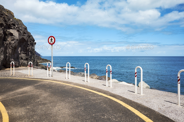 End of the road at Playa De Las Teresitas in San Andres, Tenerif - Stock Photo - Images