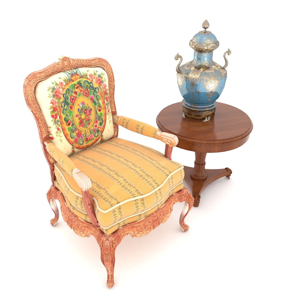 new concept 80394 211b9 Floral Armchair with Side Table and Vase