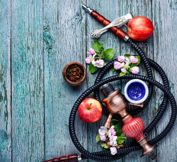 Arabian shisha with apple tobacco - Stock Photo - Images