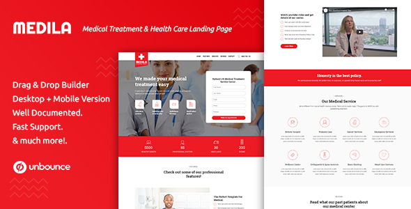 Medila - Medical Treatment & Health Care Unbounce Landing Page Template by Divine-Store