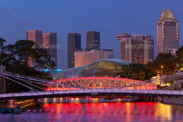 Singapore skyline and Cavenagh Bridge - Stock Photo - Images