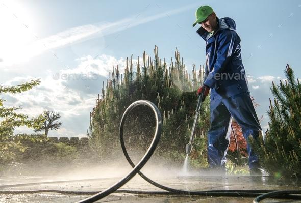 Garden Washing Maintenance - Stock Photo - Images
