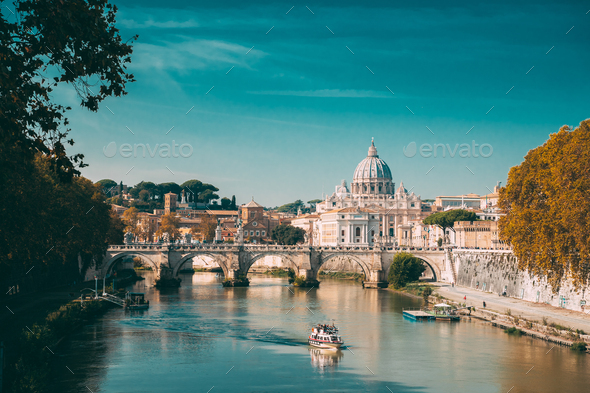 Rome, Italy. Papal Basilica Of St. Peter In The Vatican. Sightse - Stock Photo - Images