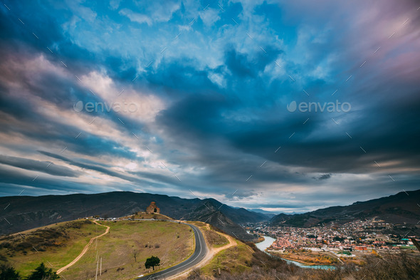 Mtskheta, Georgia. Sunset Sky Above Jvari, Georgian Orthodox Mon - Stock Photo - Images