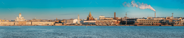 Helsinki, Finland. Panoramic View Of Helsinki Cathedral, Preside - Stock Photo - Images
