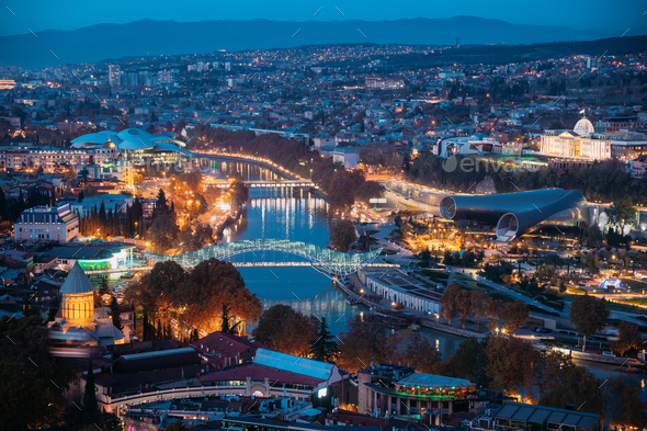 Tbilisi, Georgia. Aerial View Of Justice House, Bridge Of Peace, - Stock Photo - Images