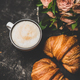 Cup of cappuccino, fresh croissants and pink flowers, square crop - PhotoDune Item for Sale