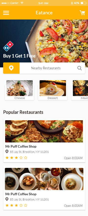 Eatance - Restaurant and Food Delivery App