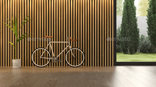 Interior of modern living room with bicycle 3D rendering - Stock Photo - Images