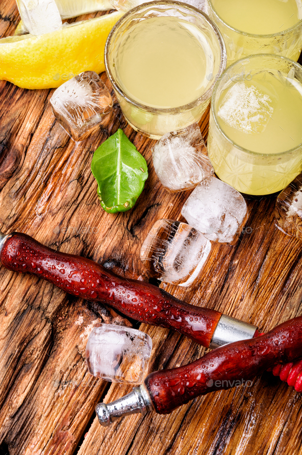 Hookah and limoncello alcohol - Stock Photo - Images