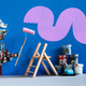 Decorator robot repaints the wall of the room in purple color. - PhotoDune Item for Sale