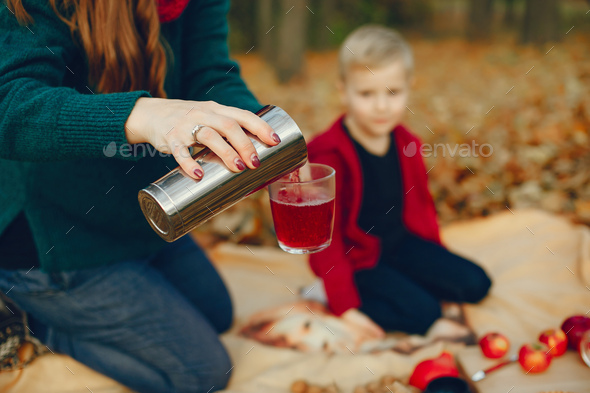Family with little son in a autumn park - Stock Photo - Images