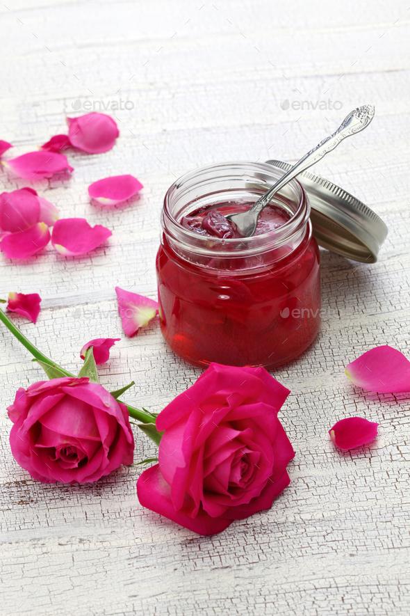 homemade rose petal jam in glass jar - Stock Photo - Images