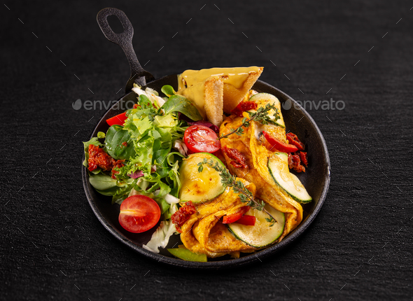 Fresh homemade omelette - Stock Photo - Images