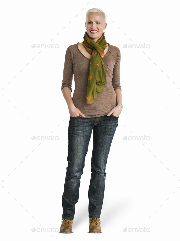 Caucasian woman standing mockup - Stock Photo - Images