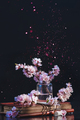 Spring cherry blossom in a glass jar on a dark background with pink sparkle. Creative flower - PhotoDune Item for Sale