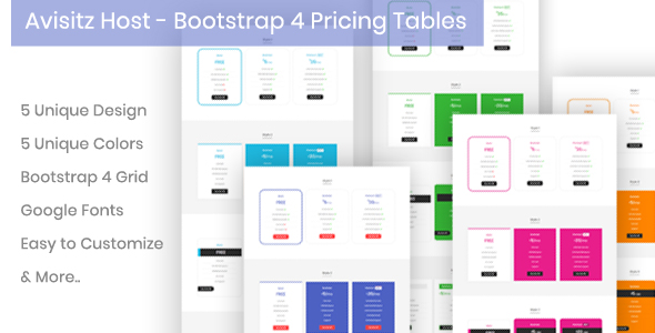 Avisitz Host - Bootstrap 4 Pricing Tables