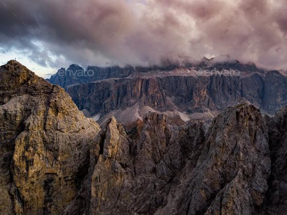 Dolomites, Italy. Landscape at Passo Gardena. Aerial photo - Stock Photo - Images